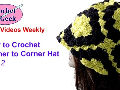 How to Crochet Corner to Corner C2C Hat with Square part 2