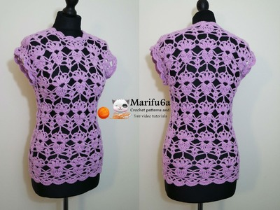 How to crochet lace top tunic free tutorial pattern by marifu6a