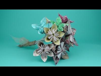How to make an origami flower bridal bouquet tutorial - Wedding DIY
