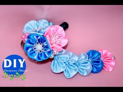 Master-class Kanzashi. DIY. Needlework. Flowers kanzashi hairclips.