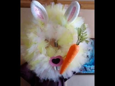 Spring.Eater DIY.Tutorial Bunny Tulle Wreath Home Decor