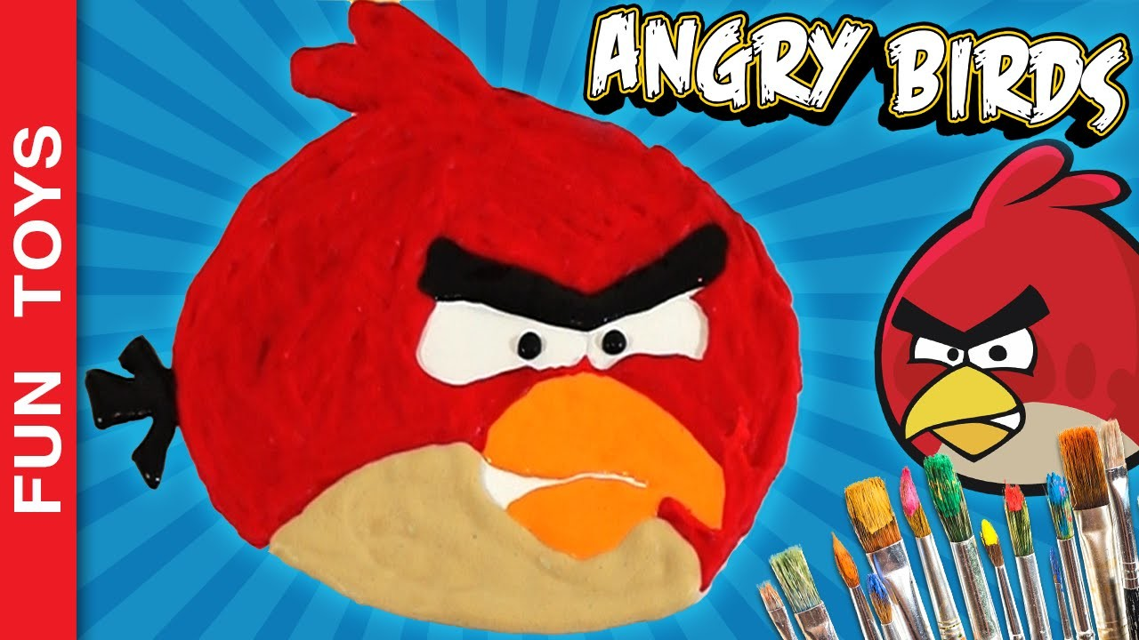 Angry Bird's Red Puffy Paint - DIY SpeedPaint Angry Birds Plush Juguetes Brinquedos Toy Surprise Egg