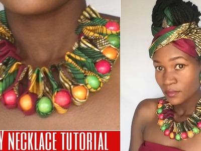 DIY ankara.african print ruffle beaded necklace