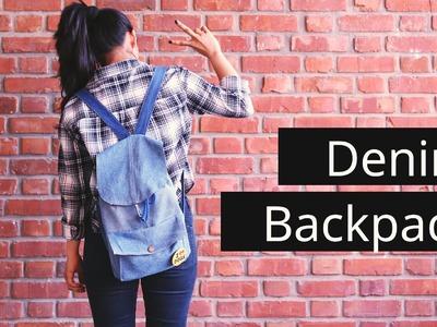 DIY denim backpack. Reconstruct old denims