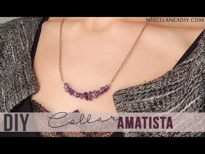 DIY simple necklace | Collar con abalorios de amatista