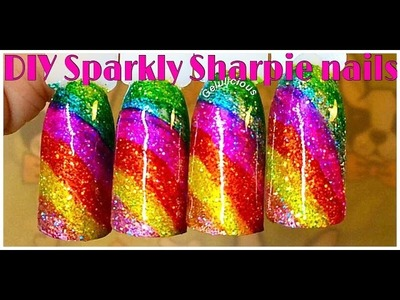 DIY Sparkly Sharpie Rainbow Nails (Inspired By Simply Nailogical)