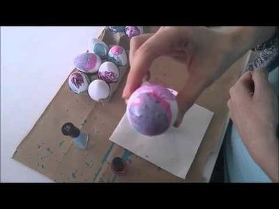 DIY Water Marble Easter Eggs