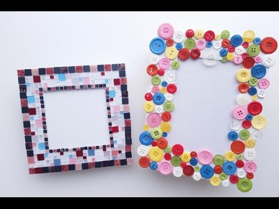 How to make a Picture Frame - DIY (mosaic tiles and coloured buttons)