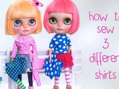 How to sew a shirt for Blythe Dolls PART 2. Wie näht man ein Shirt für Blythe Puppen TEIL 2