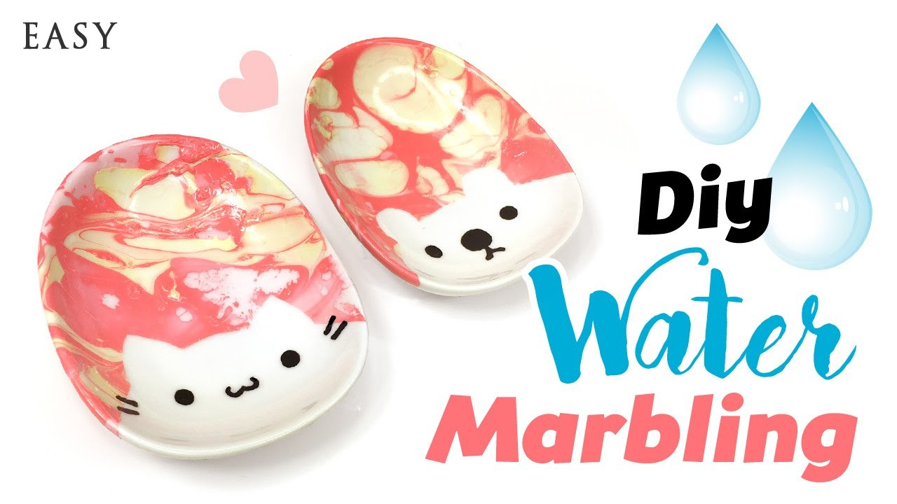 CUTE DIY Water Marble Plates!! Inspired by Watermarble Nails!