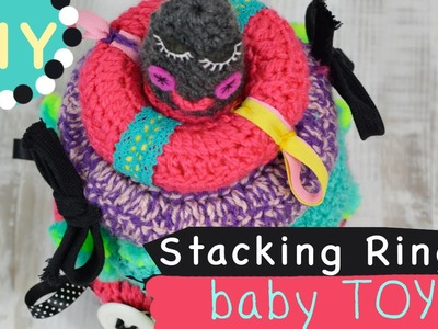 Diy baby toy BABY SHOWER GIFT stacking rings with ribbons and rattle simple crochet