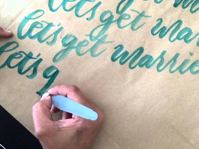 DIY Bridal Shower Gift Bag with Modern Calligraphy and a Water Brush