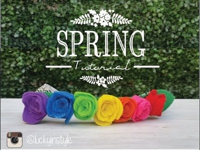 DIY | How to make a baby spring rainbow felt flower headband EASY TUTORIAL| Lucky In Style 2016