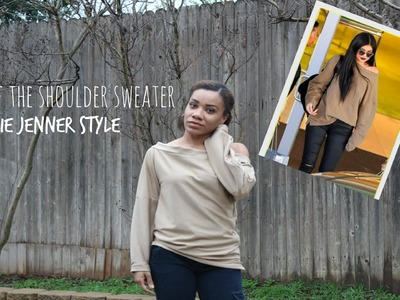 DIY off the Shoulder Sweater| Kylie Jenner Style
