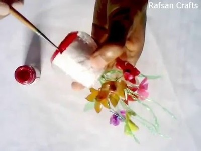 DIY Recycled Crafts- a Flower vase made with plastic bottle