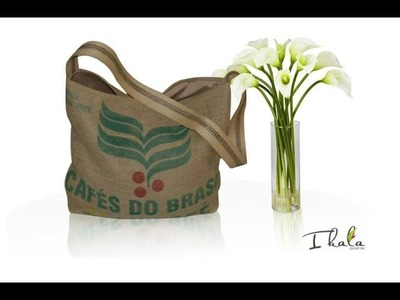 -DIY- UPCYCLED TOTE BAG - BURLAP COFFEE BEAN SACK TOTE