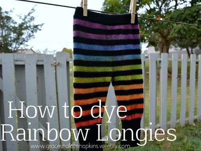 How to Dye Wool Longies Rainbow