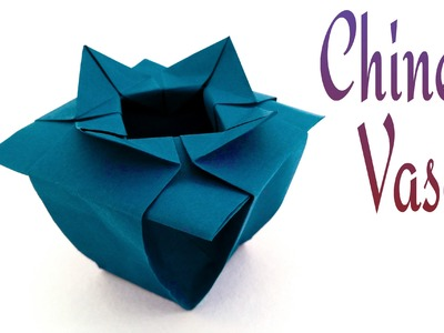 """How to make a paper """" Chinese Vase"""" - Origami tutorial"""