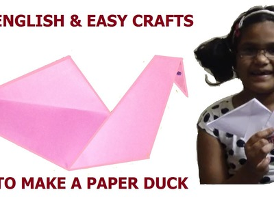 How to make a Paper Duck - Easy crafts for kids - English for Kids
