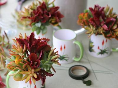 How to Make a Succulent Mug Bouquet