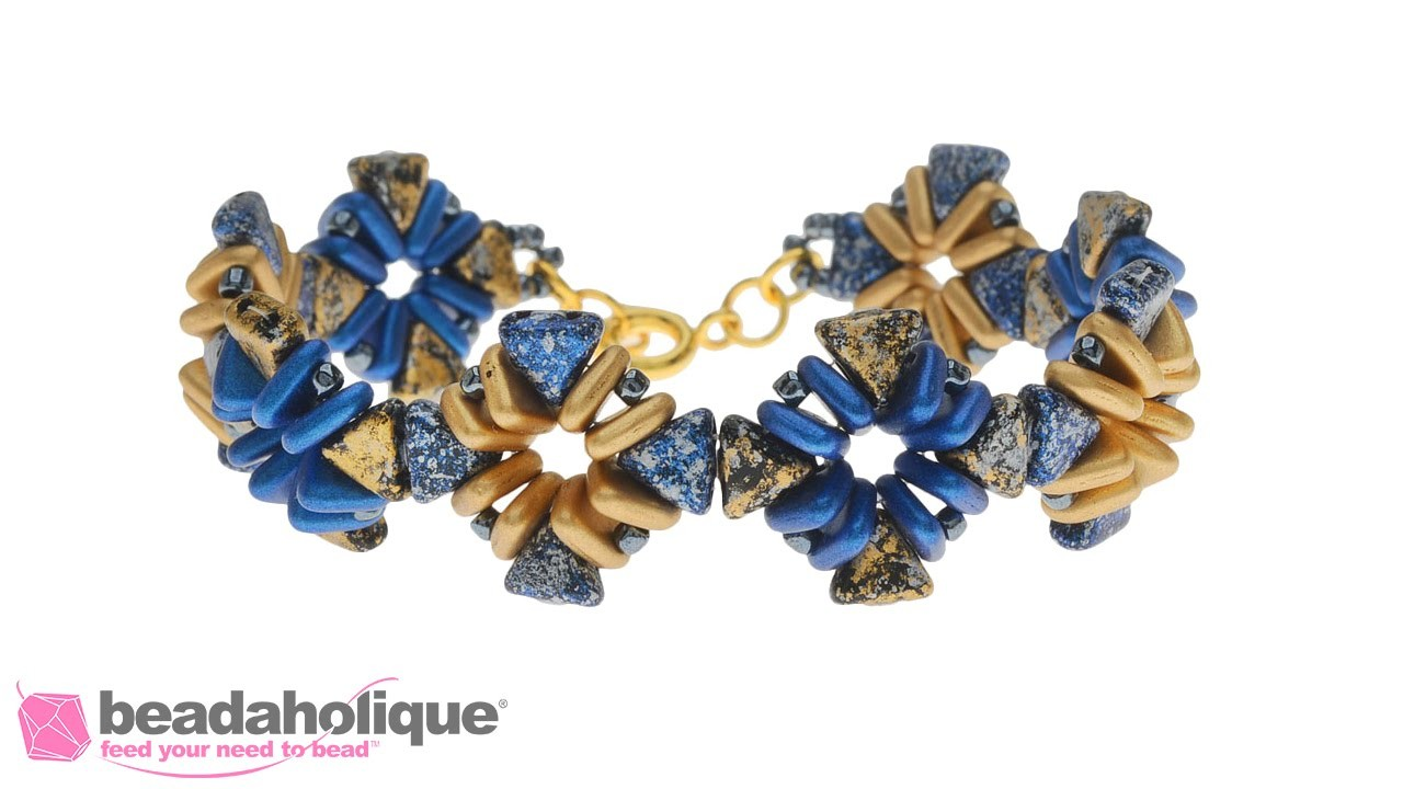 How to Make the Ancient City Bracelet using Kheops Par Puca and Czech Glass 2-Hole Triangle Beads