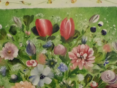 How to paint a mottled backround on canvas with  Acrylic Paint for Flowers in a Vase Lesson 1,