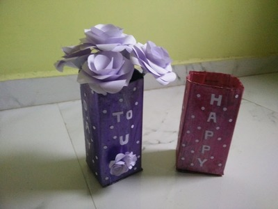 HOW TO RECYCLE OLD NEWSPAPER INTO A FLOWER VASE WITH BIRTHDAY WISHES: EASY AND BEST OUT OF WASTE