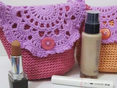 Crochet || Tutorial Tas Kecil Cantik (Resleting + Furing) - Make Up Mini Bag