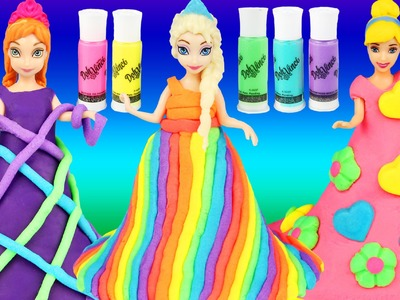 DIY DOHVINCI RAINBOW PLAYDOH DRESSES  Frozen Elsa Anna Cinderella Magic Clip Dolls dohvinci How To