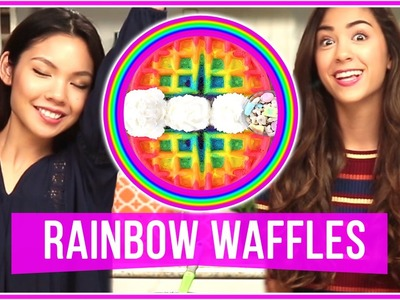 DIY Tumblr Inspired Rainbow Waffles! | Let's Get Snacking w. MissTiffanyMa and ClayCupcakes4