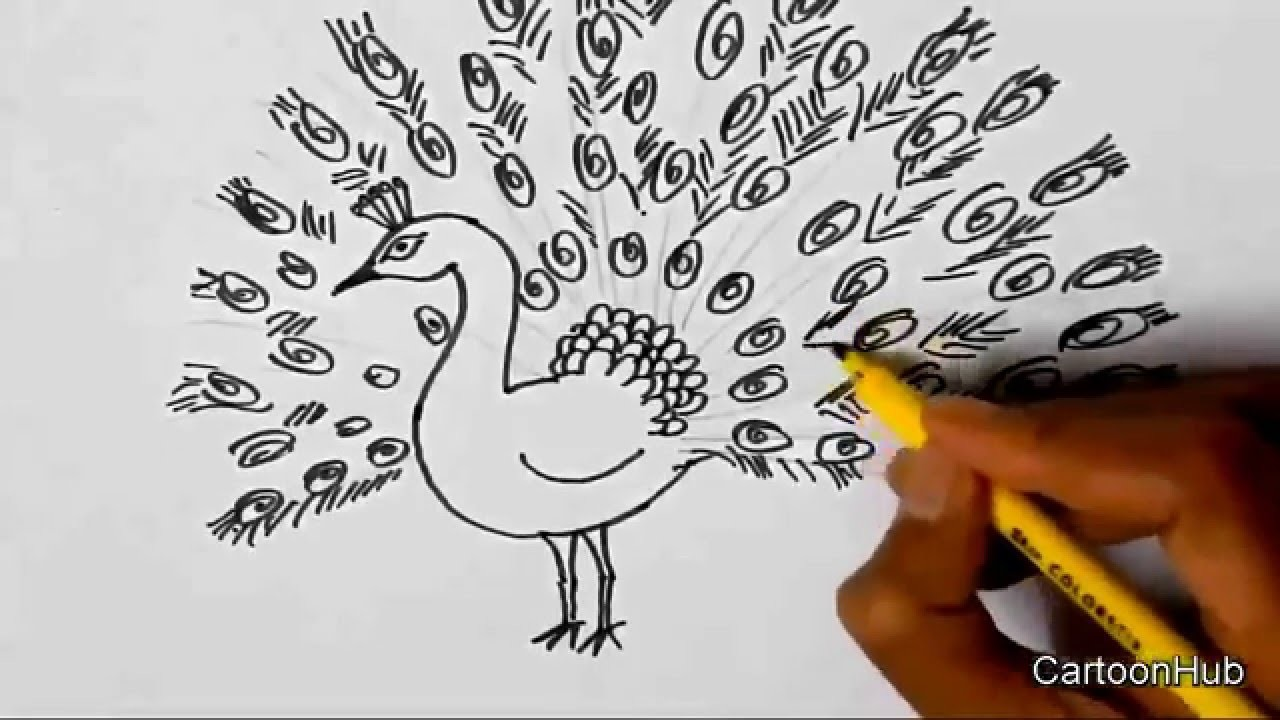 How to draw a Dancing Peacock for children, kids, beginners lesson Step by step.