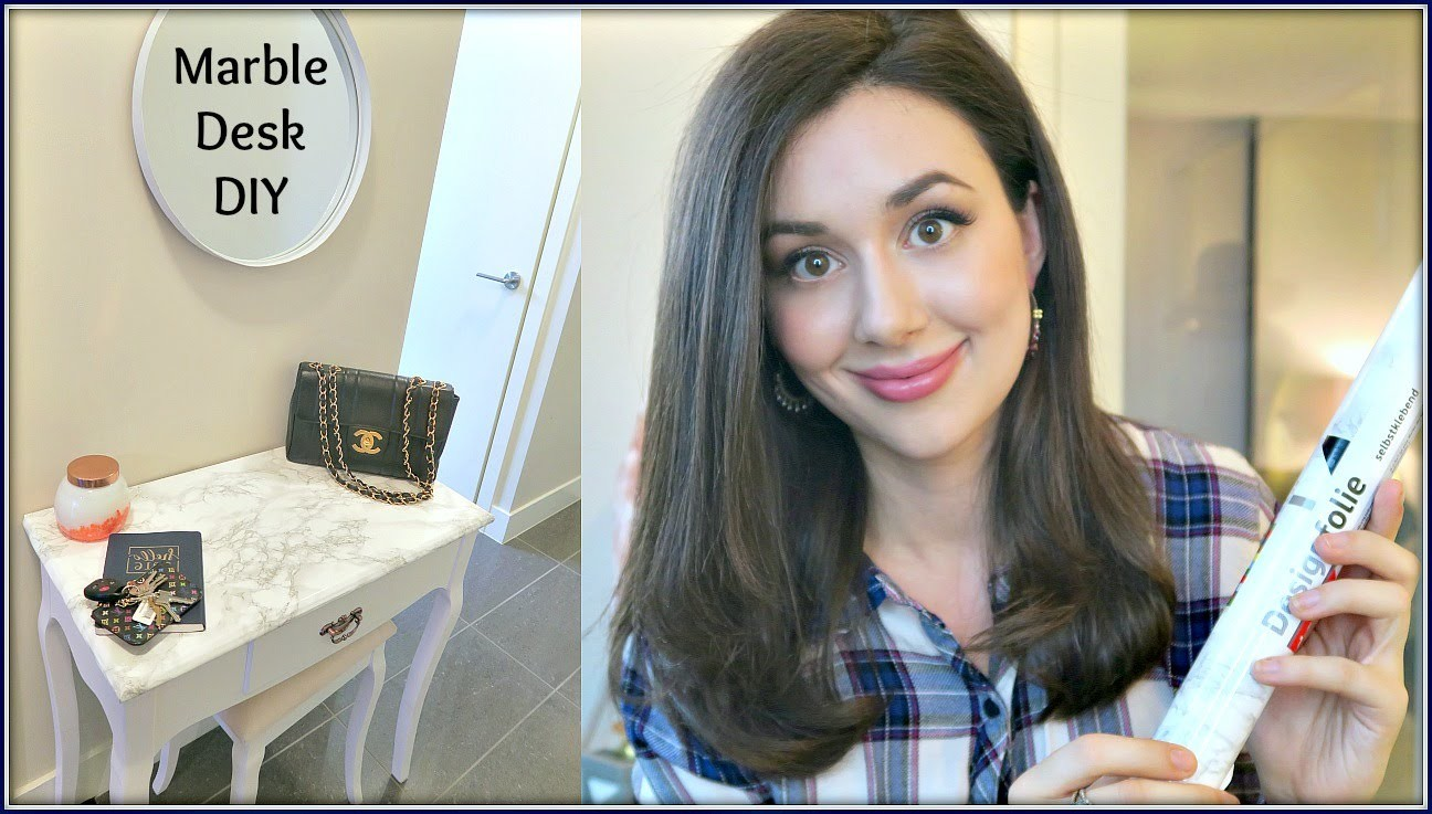 HOW TO GIVE ANYTHING A MARBLE MAKEOVER! | MARBLE DESK DIY