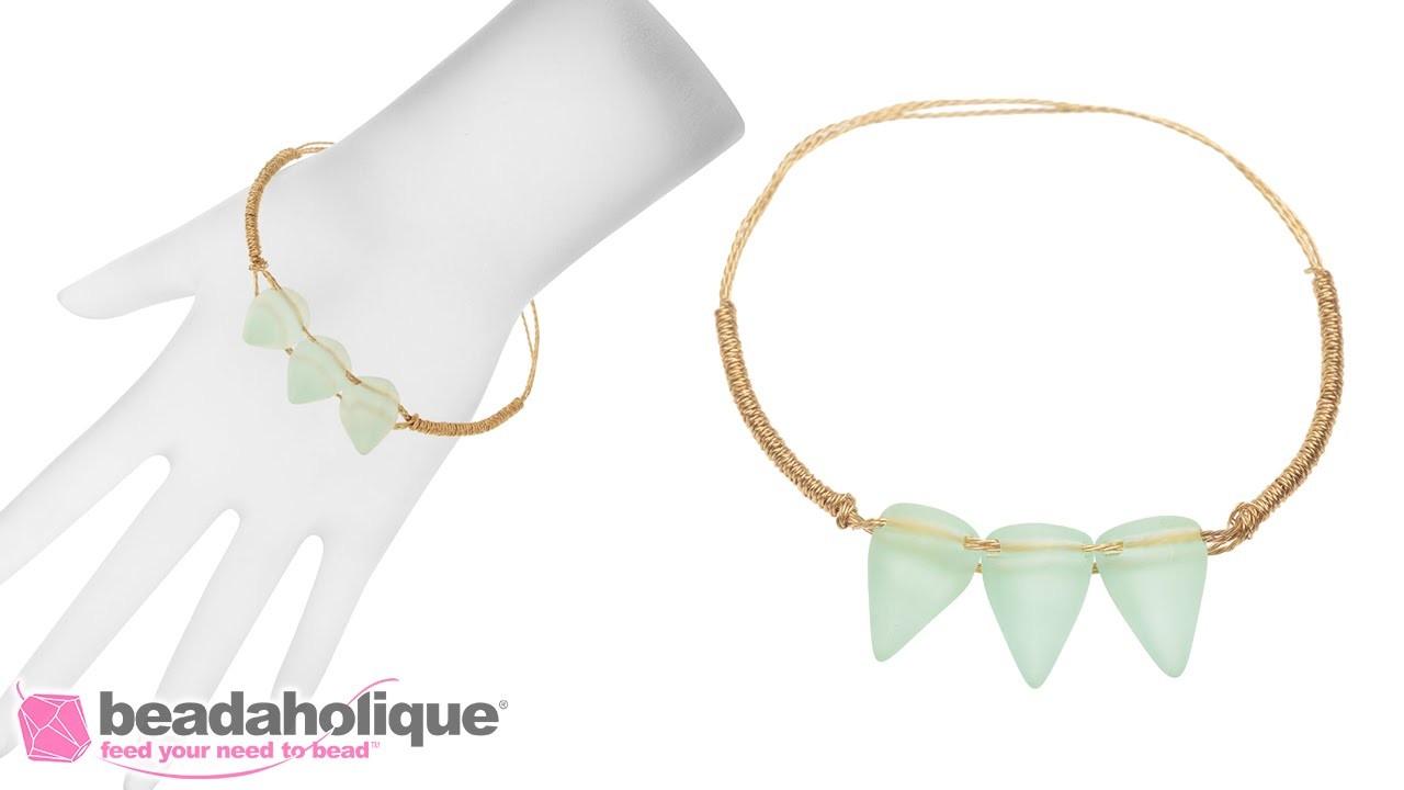 How to Make a Sea Glass Spike Bangle Bracelet