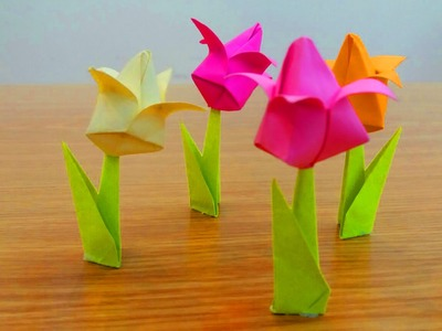 How To Make a Tulip Paper Flower : Origami Tulip Flower