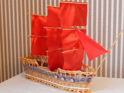 Weaving newspapers sailing ship from paper tubes DIY tutorial Barco de vela hecho de papel