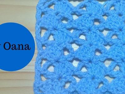 Crochet asymmetrical shell stitch