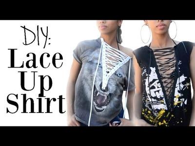 DIY FASHION: T Shirt Reconstruction -  Lace Up Shirt!