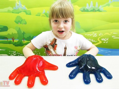 DIY. Giant Gummy Hands - how to make interesting toys jelly red and blue hands
