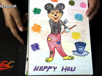 Draw Mickey mouse playing Holi   School Project for kids   JK Easy Craft