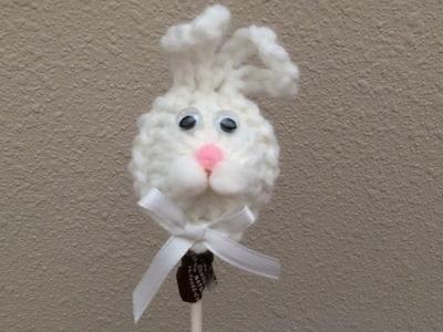 How To Crochet An Easter Bunny Lollipop, Lilu's Knitting Corner Video # 68
