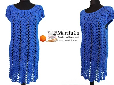 How to crochet blue dress tunic tutorial pattern by marifu6a