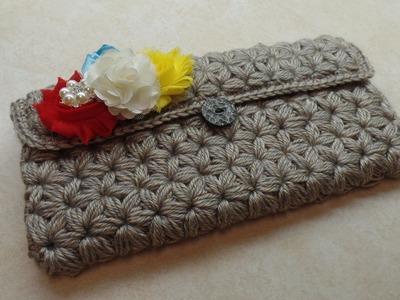 How To #Crochet Puffed Star Stitch Clutch Wallet Purse #TUTORIAL #304