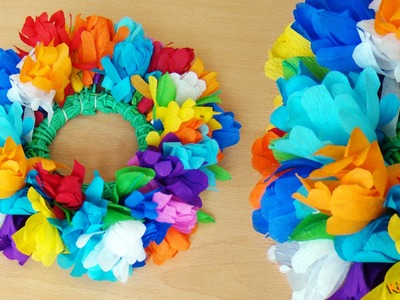 How to make a Paper Flower Head Wreath? DIY