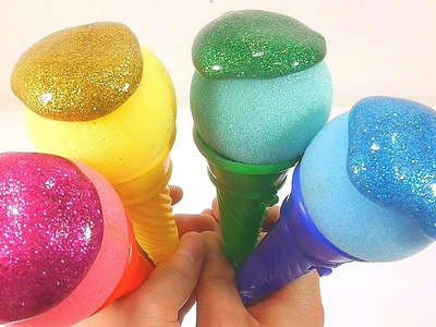 How To Make Colors Glitter Ice Cream Toys Slime Recipe DIY Kinder surprise toys