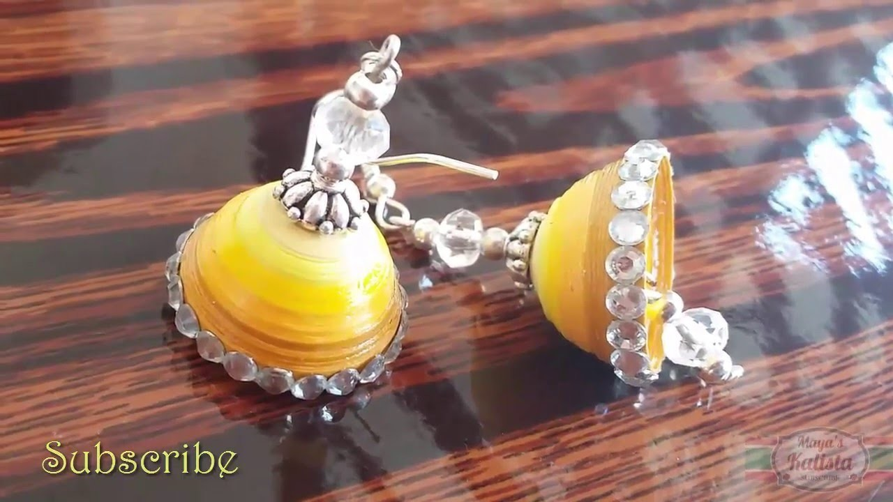 How to make Hook Jhumkas - Paper Quilling - Tutorial !