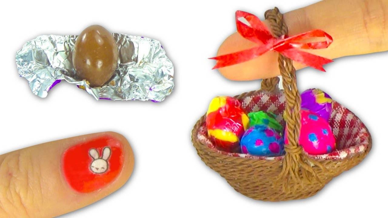 Miniature edible chocolate Easter Eggs and Easter basket or picnic basket DIY Tutorial- YolandaMeow♡