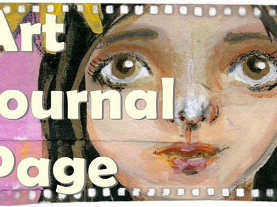 Art journaling Page: girl with flower. Easy DIY Traveling Journal