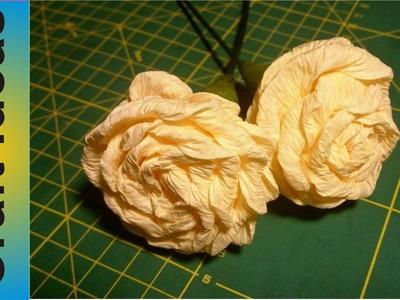 Crepe paper rose, tutorial, DIY