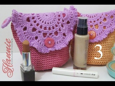 Crochet || Tutorial Tas Kecil Cantik (Resleting + Furing) - Make Up Mini Bag (Part 3)