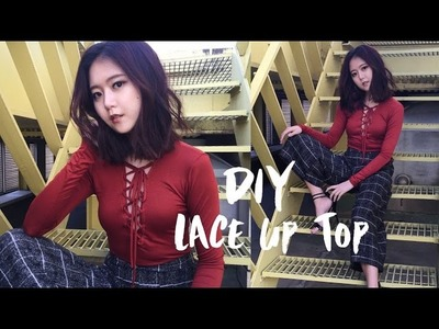 DIY Deep-V Lace Up Top (Korean Sub)